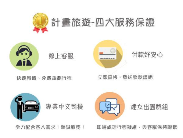 『計畫旅遊』專屬中文司機包車,給您四大服務保證!